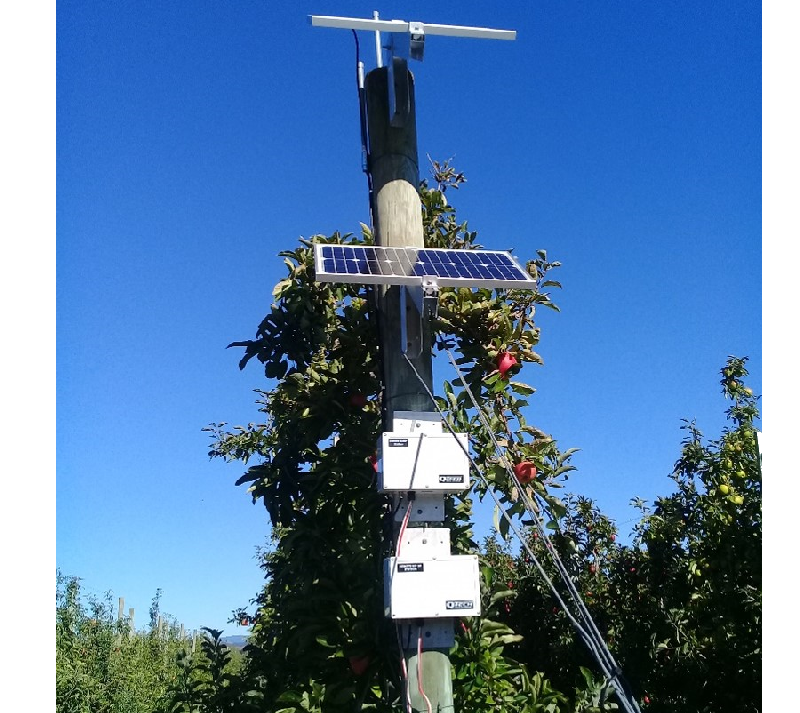 Orchard irrigation controller using wireless radio point to point system